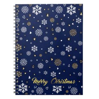 Cuaderno Oro de las Felices Navidad y copos de nieve