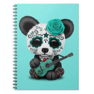 Cuaderno Panda azul del cráneo del azúcar que toca la