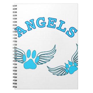 Cuaderno Patas del mascota del ángel en azul