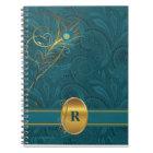 Cuaderno Pavo real verde azulado con monograma para el