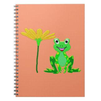 Cuaderno pequeña rana y flor amarilla