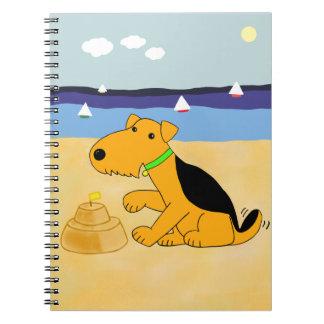 Cuaderno Perro de Airedale Terrier del dibujo animado en el