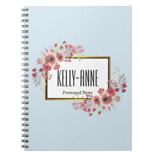 Cuaderno Personalice el espiral floral del boutique del