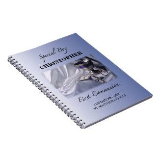 Cuaderno Personalice, muchacho, primer azul de la comunión