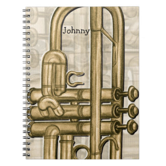 Cuaderno personalizado de la trompeta de oro
