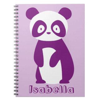 Cuaderno personalizado púrpura de la panda