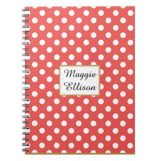 Cuaderno Personalizado rojo y blanco del lunar