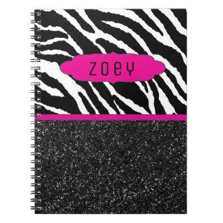 Cuaderno personalizado rosado de la raya w/Glitter