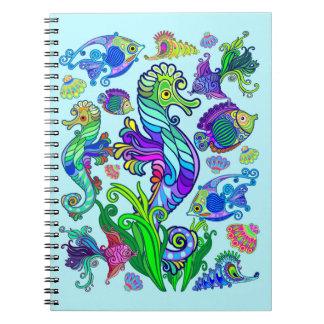 Cuaderno Pescados y SeaHorses exóticos de la vida marina