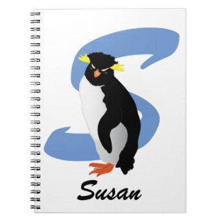 Cuaderno Pingüino con monograma con nombre y inicial