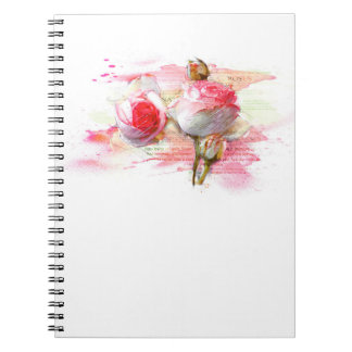 Cuaderno Pink colored roses, Watercolor, splash