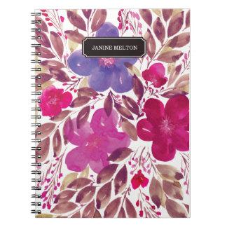 cuaderno pintado a mano de las flores
