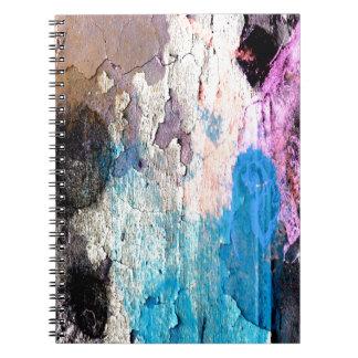 Cuaderno Pintura de la peladura en azul, púrpura, rosa
