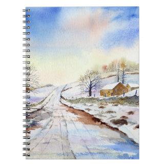 Cuaderno Pintura de paisaje hivernal de la acuarela del