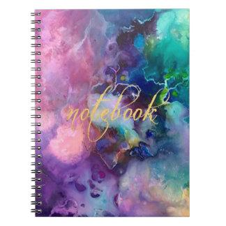 Cuaderno pintura púrpura colorida del modelo de la textura