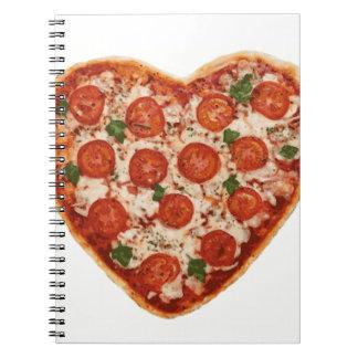 Cuaderno pizza en forma de corazón
