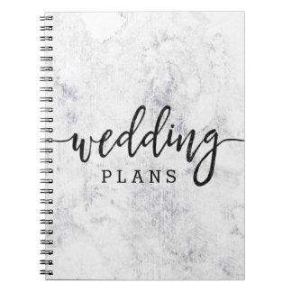 Cuaderno Planificador de mármol blanco y gris elegante del