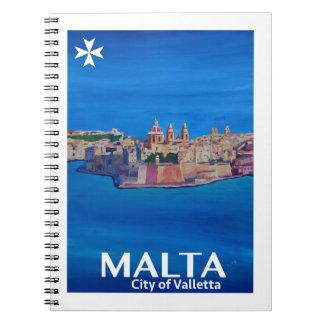 Cuaderno Poster retro Malta La Valeta - ciudad de