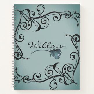 Cuaderno Princesa afiligranada y color de rosa azul Elegant