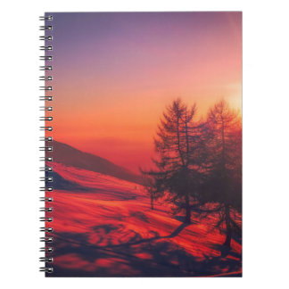 Cuaderno Puesta del sol de la tarde Nevado