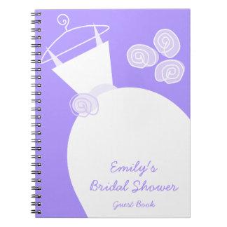 """Cuaderno púrpura de la """"ducha nupcial"""" del vestido"""