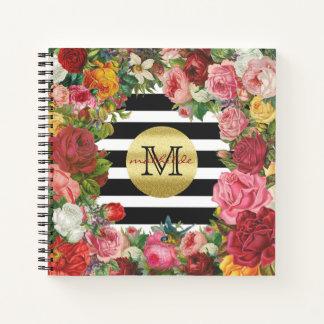 Cuaderno Purpurina de moda del oro de las flores de los