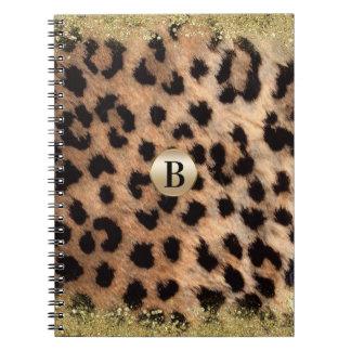 Cuaderno Purpurina del oro del estampado de animales del