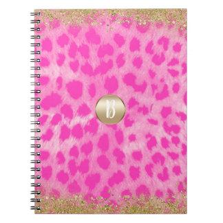 Cuaderno Purpurina rosado del oro de la impresión del