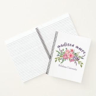 Cuaderno Ramo floral de la lavanda y del rosa