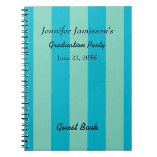 Cuaderno Raya azul/verde del libro de visitas de la fiesta