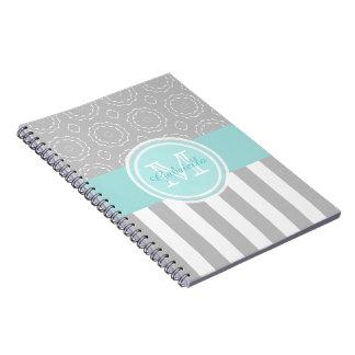 Cuaderno rayado/del adorno ciánico, gris y blanco