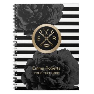 Cuaderno Rayas modernas florales negras elegantes del salón