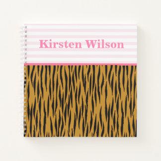 Cuaderno Rayas rosadas y Tigerprint de la diversión