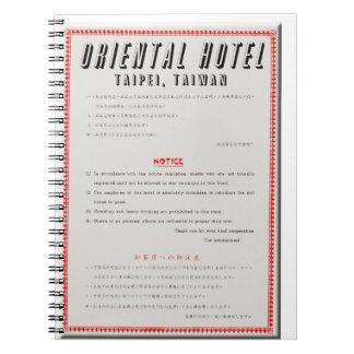 Cuaderno Reglas orientales del hotel