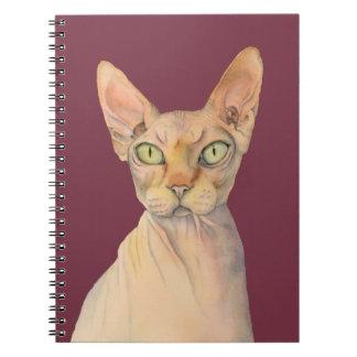 Cuaderno Retrato de la acuarela del gato de Sphynx