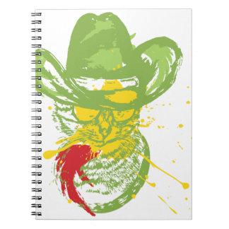 Cuaderno Retrato del gato del vaquero del Grunge