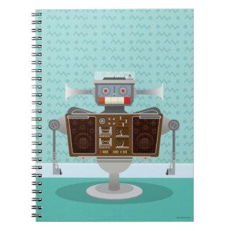 Cuaderno retro azul del robot