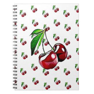 Cuaderno retro lindo de la cereza del estilo