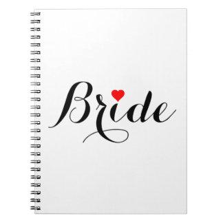 Cuaderno rojo del corazón de la novia
