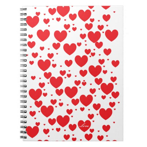 Cuaderno rojo del modelo de los corazones del amor