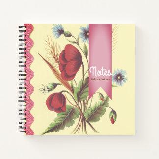 Cuaderno Rosa de la amapola del vintage