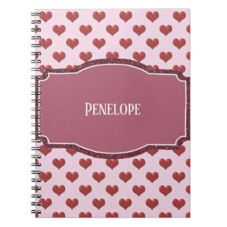 Cuaderno Rosa del deslizador del ballet con el letrero de