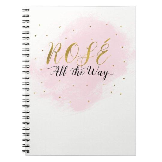 Cuaderno Rosa y oro del fiesta de Rosé hasta el final