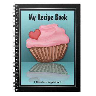 Cuaderno rosado de la receta de la turquesa de la
