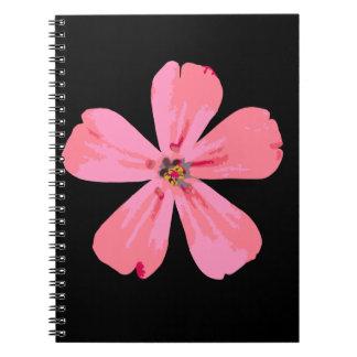 Cuaderno rosado del espiral de la flor