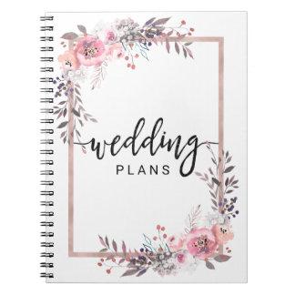 Cuaderno Se ruboriza y el planificador floral enmarcado oro