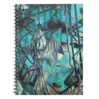 Cuaderno secado waterlily y reflexión en el lago en otoño