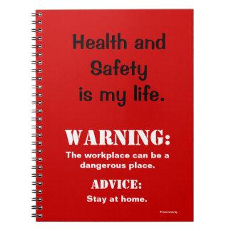 Cuaderno Señal y cita divertidas de peligro de salud y de