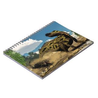 Cuaderno Shantungosaurus que defiende de tarbosaurus