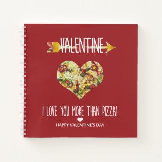 Cuaderno Tarjeta del día de San Valentín, te amo más que la